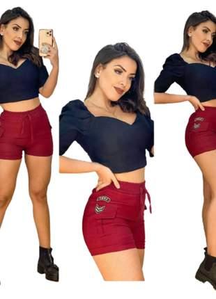 Short army tecido bengaline moda instagram