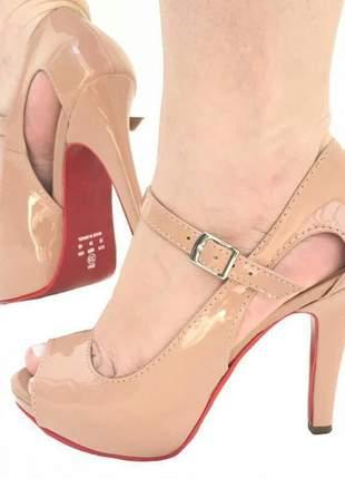 Sandália feminina nude sola vermelha salto alto meia pata