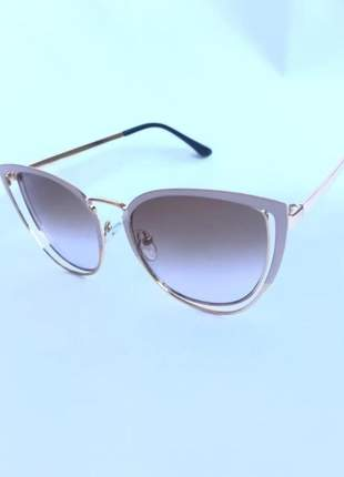 Óculos de sol feminino chic metal rosa original t6