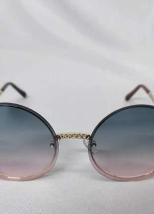 Oculos de sol redondo feminino blogueira lente azul c/ rosa