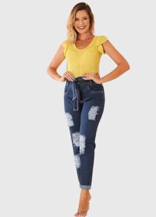 Calça jeans feminina mom rasgada confort