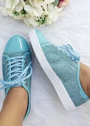 Tenis roxy fun store azul tiffany glitter verniz cadarço confortavel