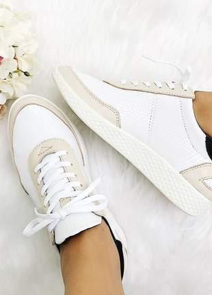 Tenis megan fun store branco off white couro lycra ultra confortavel