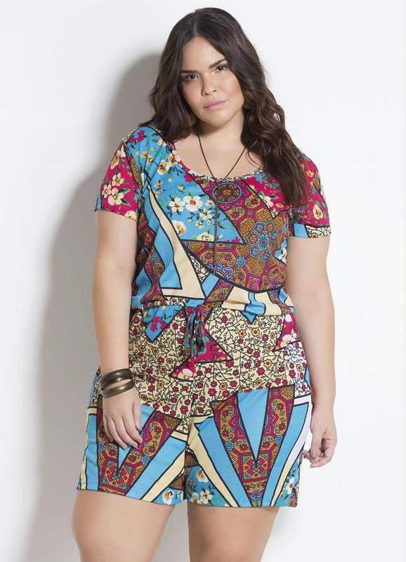 ca138858b Macaquinho florido plus size - R$ 65.00 (de tecido) #9821, compre ...