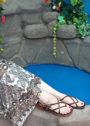 Rasteirinha sandália couro artesanal trançado estilo hippie