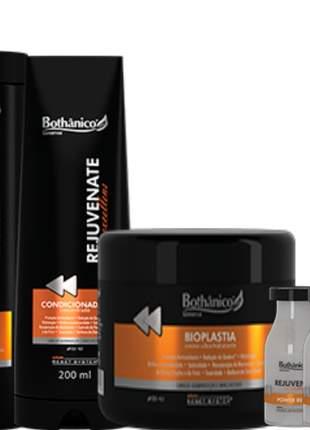 Kit rejuvenate bothanico hair shampoo condicionador ampolas + bioplastia 500g