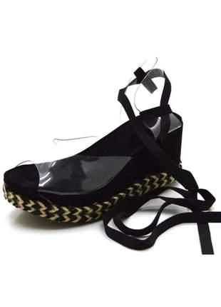 Sandália anabela transparente salto médio boneca feminina confortável ref 180943