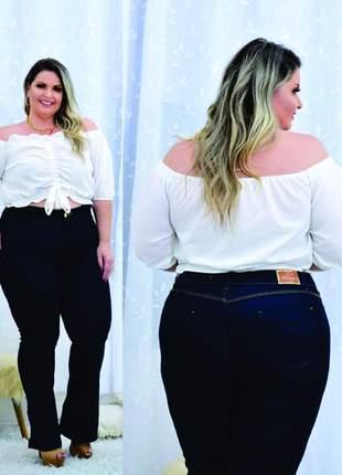 Calça jeans plus size flare cintura alta - azul profundo - 46, 48, 50, 52