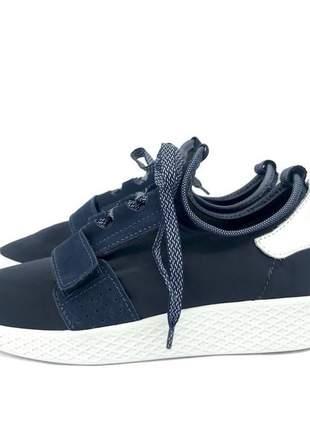 Tenis holly fun store azul marinho couro e lycra ultra leve e confortavel