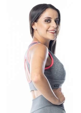 Top Fitness Cropped Cinza Mescla Bojo