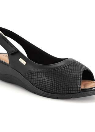 Sandália anabela comfortflex feminino preta 2096304p