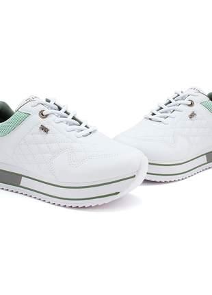 Tênis feminino branco verde flatform ramarim 2071203