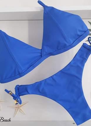 Biquini retro 2 tiras - azul royal