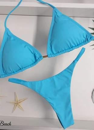Biquini cortininha fininha - azul