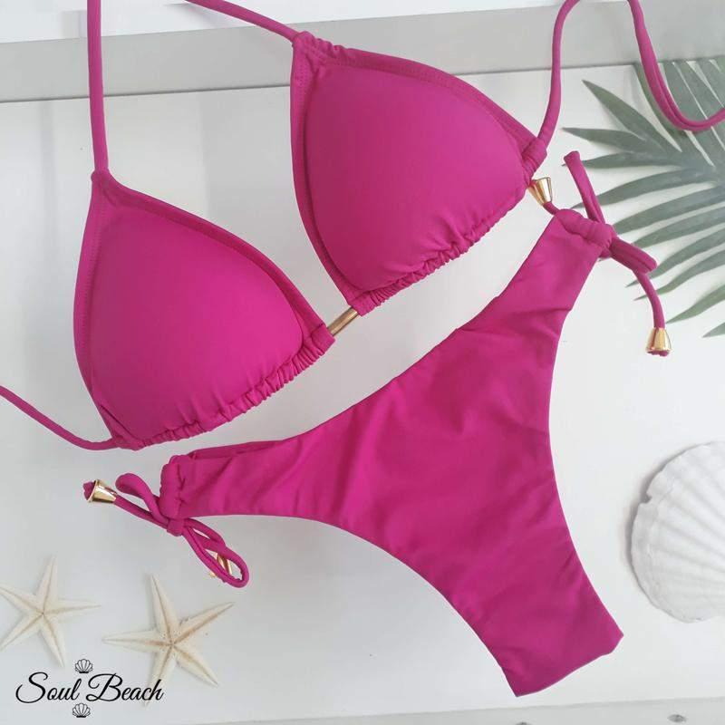 Biquini cortininha 2 tiras - pink
