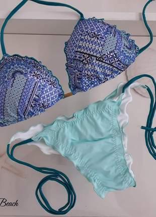 Biquini ripple lacinho - estampa azul