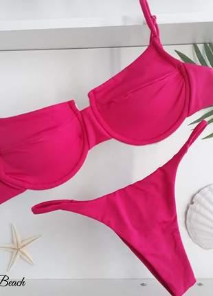 Biquini aro taça - pink