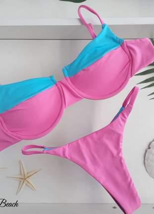 Biquini aro taça - rosa e azul