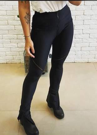 Calça feminina prada fit original preta cintura alta com ziper - lançamento