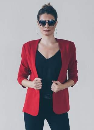 Blazer feminino alfaiataria vermelho