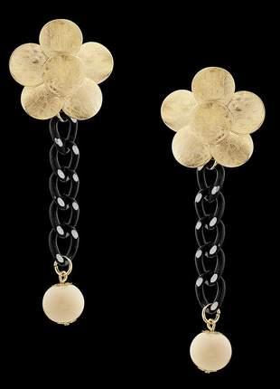 Kit colar e brinco folheado à ouro 18k flor do oriente ref. 2122