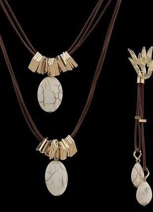 Kit colar com fios encerados e pedra natural turquesa branca - ref 346