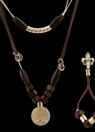 Kit colar com fios encerados e pedra natural e acessórios madeira ref. 345