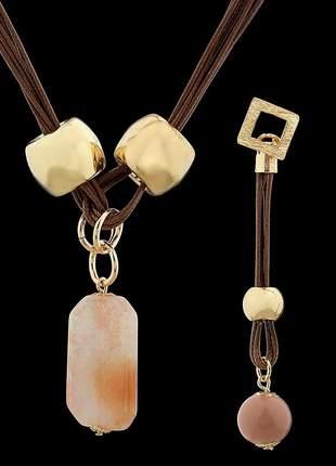 Kit brinco e colar com fios encerados e pedra natural ágata ref. 340