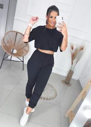 Conjunto moletinho blusa e calça jogger feminina preto