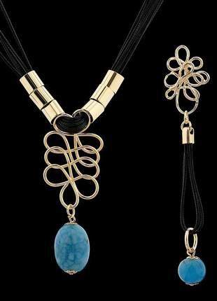 Kit brinco e colar com fios encerados e pedra natural ágata azul ref. 339