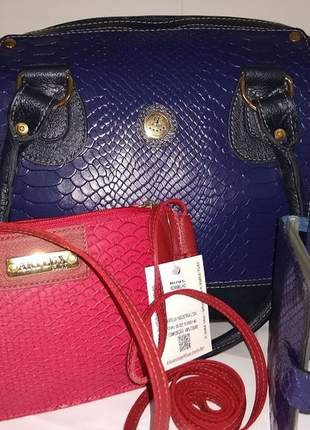 Mega promoção kit com bolsas de couro e carteira