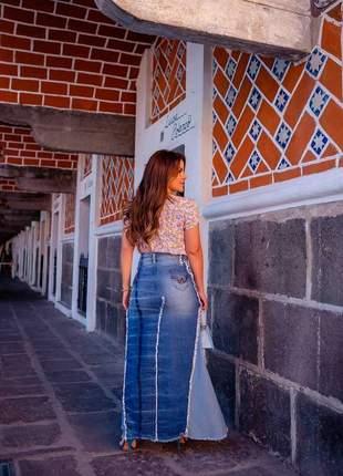 Saia longa jeans nesgas detalhes joyaly moda evangélica