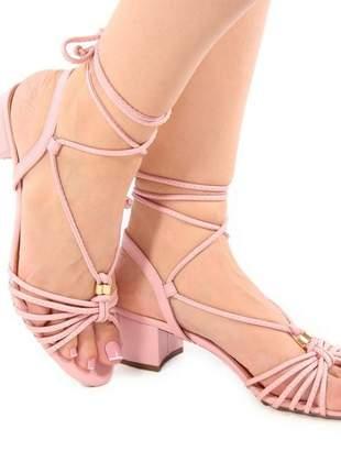 Sandália nude rosada com amarração