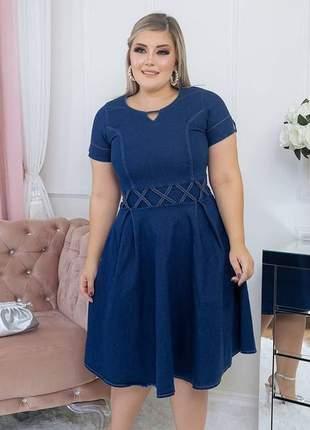 Vestido jeans midi gode feminino moda evangelica crista