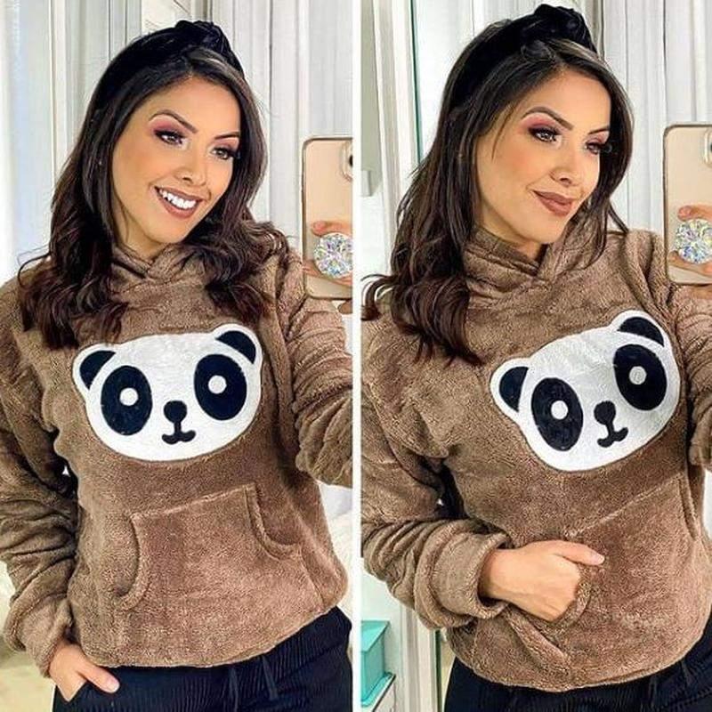 Blusa casaco panda pelinho pelucia
