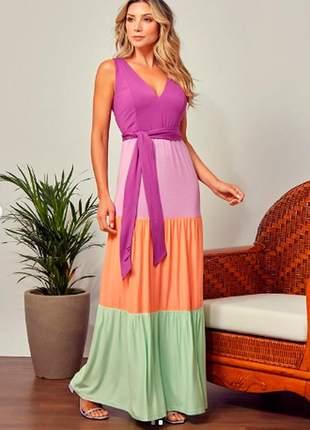 Vestido longo color block em viscolycra