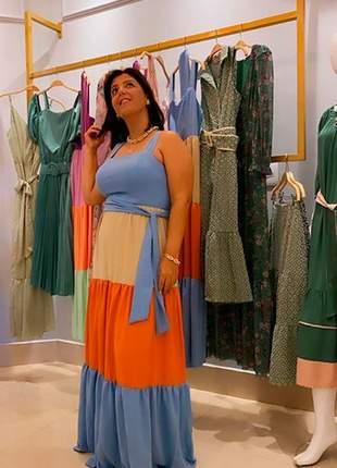 Vestido longo color block em crepe air flow