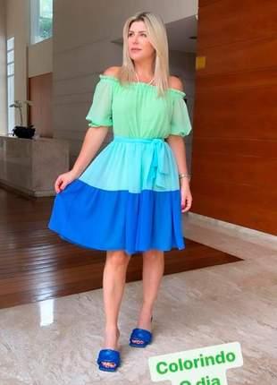 Vestido curto em crepe color blocking com forro!