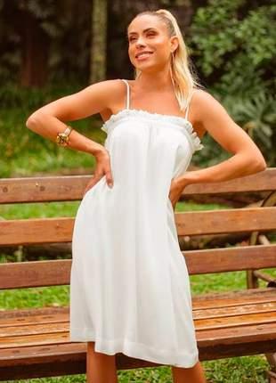 Vestido curto em crepe com pérola off white