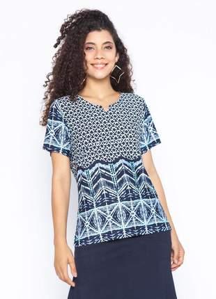 Blusa feminina de malha estampa geométrica marinho – 11592