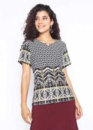 Blusa feminina de malha estampa geométrica kaki - 11592
