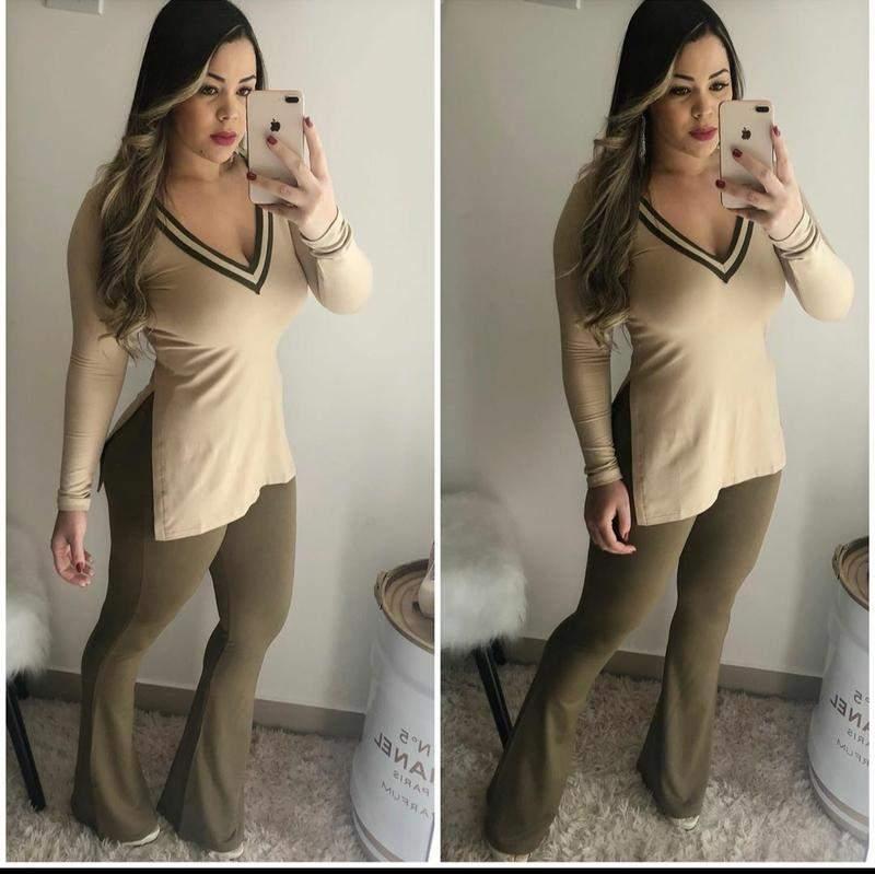 Conjunto blusa comprida c/ calça