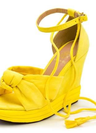 Sandália anabela salto médio boneca feminina confortável ref 3042