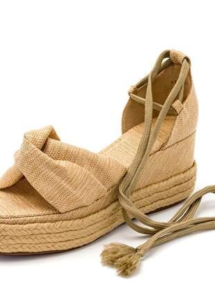 Sandália anabela salto médio boneca feminina confortável ref 170408
