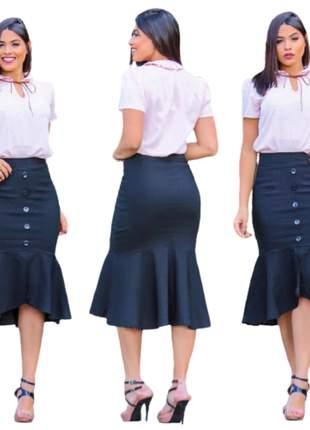 Saia midi sereia moda evangélica tecido bengaline