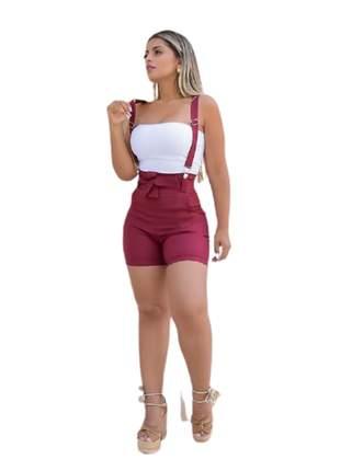 Salopet short roupas femininas tecido bengaline
