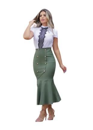 Saia midi moda evangélica botões tecido bengaline