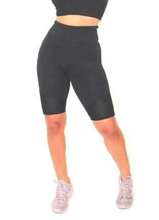 Bermuda Esportiva Fitness GR Esporte Preta Lisa Feminino