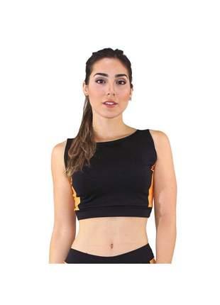 Cropped Top Fitness GR Esporte Preto Detalhe Amarelo Feminino