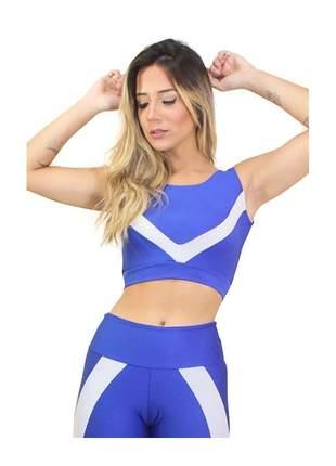 Cropped Top Fitness GR Esporte Azul Royal Detalhe Listras Feminino